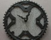 Bicycle Gear Clock - Gray Wool | Bike Clock | Wall Clock | Recycled Bike Parts Clock