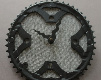 Bicycle Gear Clock - Gray Wool | Bike Clock | Wall Clock | Recycled Bike Parts Clock