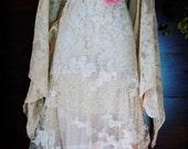 Beaded lace dress wedding ivory cream vintage flapper  boho  xs by vintage opulence on Etsy