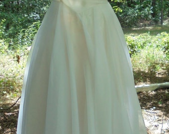 Ivory wedding dress chiffon crinoline tea length cupcake 50s style pin up vintage  romantic   small  by vintage opulence on Etsy