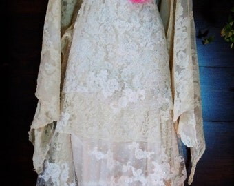 Beaded lace dress wedding ivory cream vintage flapper  boho  xs by vintage opulence on Etsy