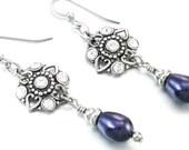Midnight Pearl Drop Earrings, Crystal Dangle Earrings, Crystal Earrings, Pearl Earrings, Mother of the Bride Earrings, Pearl Dangle Earrings