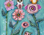 Owl Painting, Flowers, Nursery Art,  Children's art, Home decor, 8 x 10 print, Embellished print