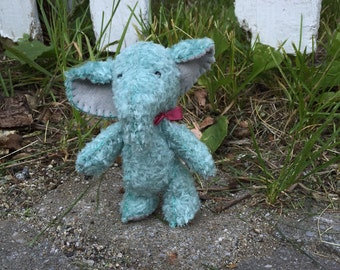 Blue mohair elepant, ready to ship, small collectible stuffed animal