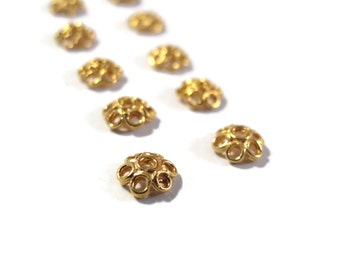 10 Gold Bead Caps, Ten Vermeil Beadcaps for Making Jewelry, Flower Bead Caps, Gold Over Sterling Silver, Jewelry Supplies (H-153001)