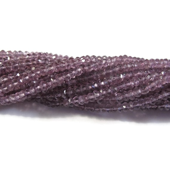 Purple Amethyst Beads, Faceted Rondelles, 6.5 Inch Strand of Over 60 Tiny Gemstones, February Gifts, Jewelry Supplies (R-Am6)