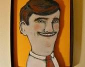 Lucky Guy , Shadowbox art, Diorama, funny art , sandy mastroni,Small art, Wall art collection,