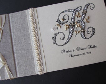 Monogram Guest book, Wedding Guest book, Guestbook,  Linen Guest book, Personalized Guest book, Signature Book,