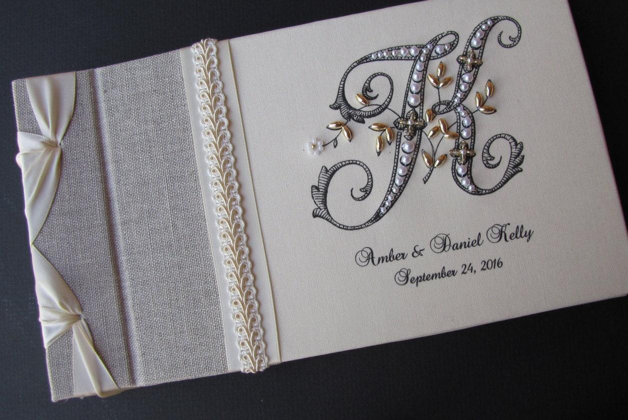 Monogram Guest Book Wedding Guest Book Guestbook Linen