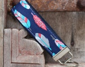 Key Fob/Keychain/Wristlet-Feathers On Navy