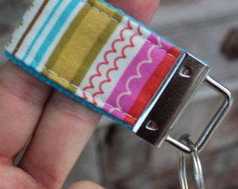 READY To Ship-MINI-MINI Keychain-Multi Stripes On Turq