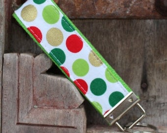 Keychain-Fob-Wristlet-Green,Red and Gold Dots on Green
