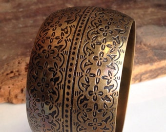Brass Bracelet, Wide Bracelet, Etched Bracelet, Tribal, Ethnic