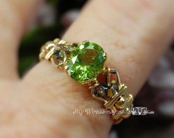 Genuine Peridot Hand Crafted Wire Wrapped Ring Signature Design Fine Jewelry August Birthstone Made to Order in Sterling or 14k GF