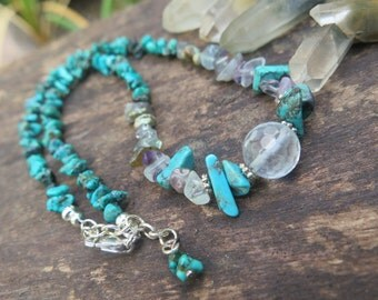 Earthy Stone Choker Necklace - Crystal Gypsy - Turquoise Silver - Boho Jewelry Fluorite - Purple - Wanderlust - Good Vibes - Free Spirited