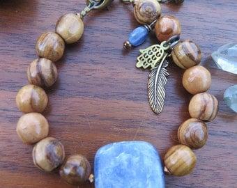 Kyanite & Wood Gemstone Bracelet - Perriwinkle Good Vibes - Energy Crystal Jewelry - Feather Hamsa - Earthy Yoga Yogi - Funky Boho Jewels