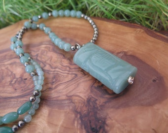 Long Mint Green Necklace - Carved Pendant - Pyrite Metallic Grey - Faceted little Sparkle - Bohemian Free Spirit Vibes - Earthy Boho Girl