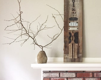 Mixed Media Metal and Barn Wood Wall Art Sculpture