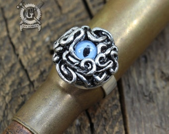 Tentacle Monster Ring - Handmade Pewter with a Blue Glass Cat's Eye - Adjustable Tentacle Ring - Steampunk Cephalopod Jewelry by Doctorgus