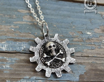 Cog Skull and Crossbones - Steampunk Necklace - Steam Pirate Pendant - Jewelry Creations by Doctor Gus - Handmade Steam punk Jewelry Designs