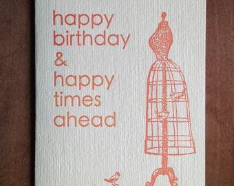 happy birthday mannequin letterpress card hand printed happy times orange birds