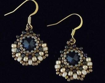 Peyote Earrings, Gold Earrings, Evening Earrings, Vintage Earrings, Beaded Earrings, Vintage Style, Drop Earrings