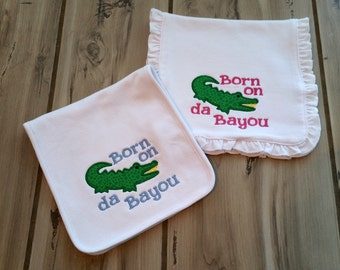 Sibling Baby Burp Cloths ~ Twin Embroidered Baby Gift ~ Matching Brother Sister Burps ~ Gator Cute Saying Burp ~ Ruffled Girl Burp