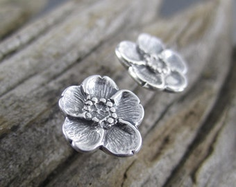 Handmade Small Buttercup Sterling Silver Post Earrings