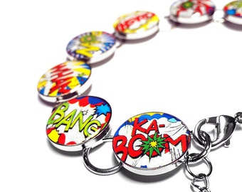 Comic Book Jewelry, Superhero Bracelet, Handmade Bracelet, Comic Book Bracelet, Retro Bracelet, Resin Bracelet, Handmade Jewelry, Handmade