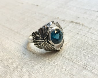 The Butterfly Duo Ring-  London Blue Topaz  in Sterling Silver