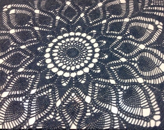 Round Lace Tablecloth in Grey Wool