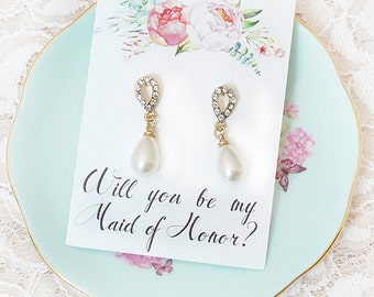 Will you be my maid of honor earrings / Will you be my maid of honor jewelry / Maid of honor Gift / Maid of honour gift / Maid of Honor