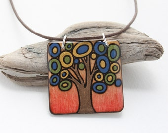 Wood Tree Pendant Necklace, Everyday Simple Necklace, Wood Burned Jewelry, Square Pendant, Gifts Under 30, Gifts for Girls, Canadian Made,