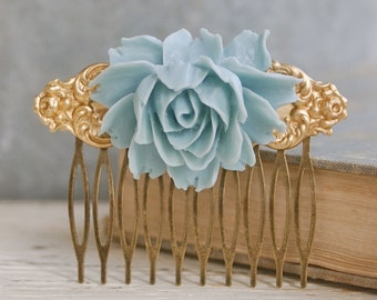 Blue rose comb. grey rose metal haircomb bridal floral shabby chic boho hair accessories. Tiedupmemories