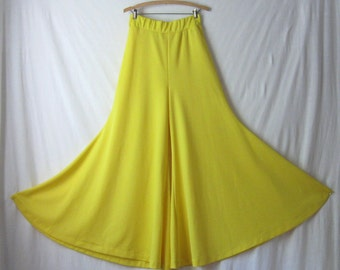 Palazzo Pants Bell Bottoms 70s Flared Pants Wide Leg Bellbottoms in Lemon Yellow