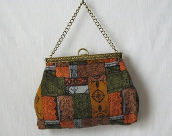 60s Purse Patchwork Bag Vintage Handbag Silk Purse in Earth Tones 1960s