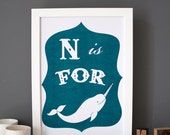 N is for Narwhal alphabet poster