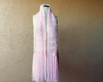 Knit Pink Light Pink Scarf Knit Spring Womens Clothing Accessories Long Soft Womens Scarf with Fringe