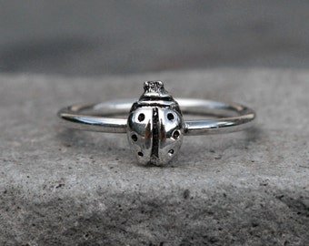 Ladybug Stacking Ring, Sterling Silver Stackable Ring, Good Luck Talisman Stack Ring Jewelry, Single Minimalist Midi Lucky Bug Stacking Ring