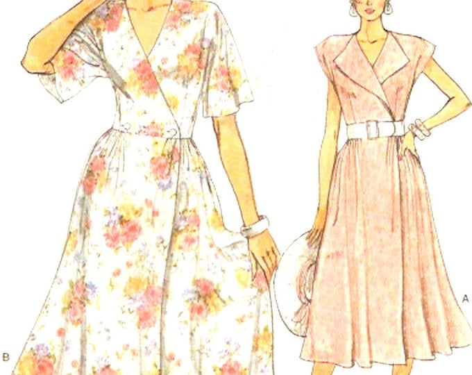 Wrap Day Dress Casual chic style Vintage sewing pattern Vogue 9282 80s UNCUT DIY fashion Bust 30 to 32