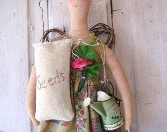 Gardening Angel Doll Folk Art Doll