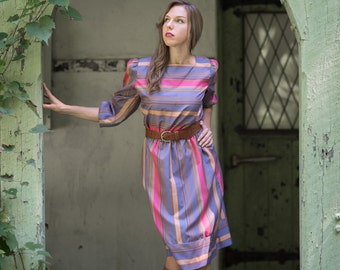 Vintage 1980s Jewel Toned Striped Dress (Size Medium)