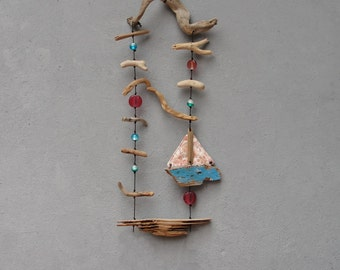 Sweet Sea Dreams Installation, Driftwood, Boatwood, Silk, Glass, Wall Hanging