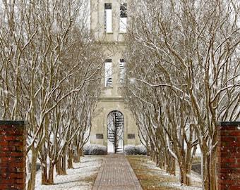 Furman University Photos, Bell Tower prints, Greenville SC  Winter Snow Photography Print, Red, Snow White Home Decor Fine Art Photograph