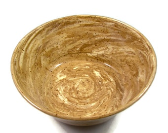 Swirled Stoneware Bowl - Brown and White Clay Bowl - Handmade Ceramic Bowl - Wheel Thrown Pottery - Ships Today