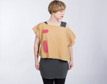 Colorgrown  Balance - One Size (XS-L) Organic Cotton Top - Handmade womens crop eco tee, modern abstract asian chic, contemporary minimal
