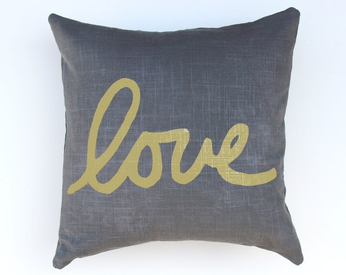 Gray and Gold Love Throw Pillow