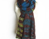 Felted Nuno Scarf Wool Silk Shawl Redish-Brown Green Blue Turquoise Emerald-Green Stripes Extra long
