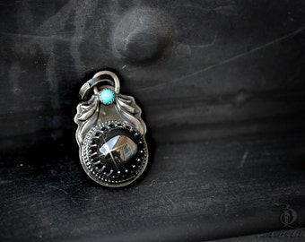 Starry Night // Myth and Legends  // Black Star Diopside and Sleeping Beauty Turquoise Gemstone Sterling silver, welded by Bellalili
