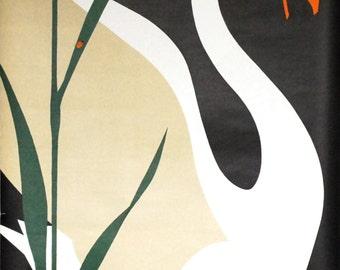 Danish Tourist Poster, 1960s Art Poster, Hans Christian Andersen, Odense Denmark, Ugly Duckling Swan Bird, Original Lithograph, Viggo Vagnby